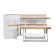 Linon Ardmore Wood Corner Nook Dining Set in White