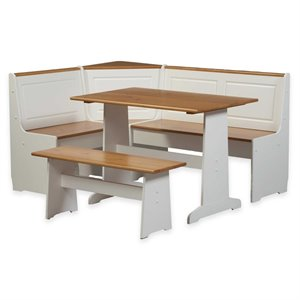 Breakfast Corner Nook Table Set in White
