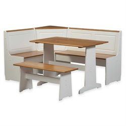 Linon Ardmore Breakfast Corner Nook Table Set in White