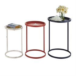 Nesting Table in Navy- Red- and White (Set of 3)