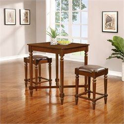 Linon Tremaine Three Piece Pub Set in Walnut
