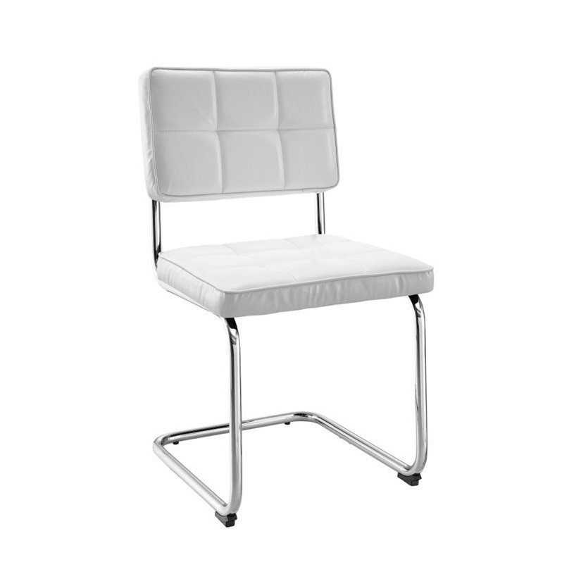Plush Back Dining Chair In White Set Of 2 145015WHT02U