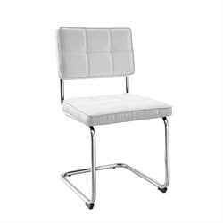 Linon Breuer Plush Back Dining Chair in White (Set of 2)
