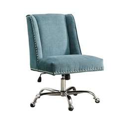 Linon Draper Armless Upholstered Office Chair in Aqua