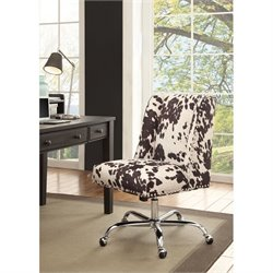 Linon Draper Armless Upholstered Office Chair in Udder Madness Black