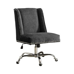 Armless Upholstered Office Chair in Charcoal