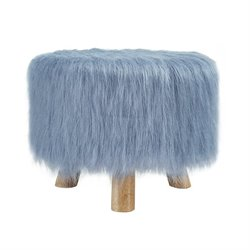 Linon Faux Fur Stool in Dusty Blue