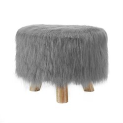 Linon Faux Fur Stool in Frost Gray