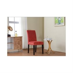 Linon Upton Parsons Accent Chair in Tomato Red (Set of 2)