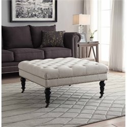 Linon Isabelle Square Ottoman in Natural