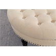Linon Isabelle Round Wood Upholstered Ottoman in Natural Beige