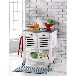Linon Robbin Kitchen Cart in White with Stainless Steel Top