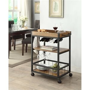 Kitchen Cart in Black with Wood Planked Top