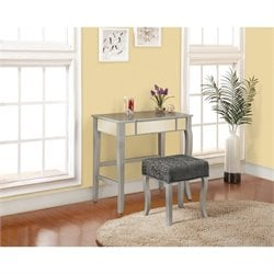 Linon Harper Bedroom Vanity Set in Silver