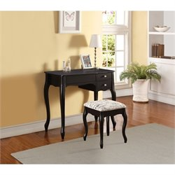 Linon Priscilla Bedroom Vanity Set in Black