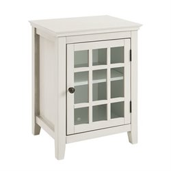 Linon Largo Antique Double Door Curio Cabinet in White