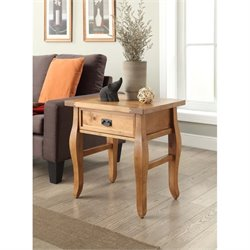 Linon Santa Fe Rectangualr End Table in Antique Brown