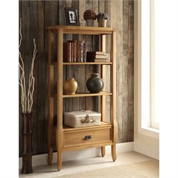 Linon Santa Fe 3 Shelf Bookcase in Antique Brown