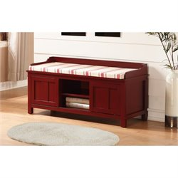 Linon Lakeville Entryway Storage Bench in Red