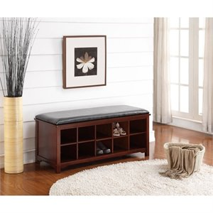 Anne Entryway Storage Bench in Dark Walnut