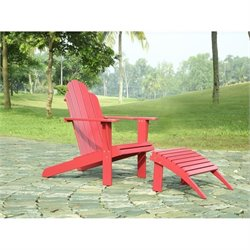 Linon Adirondack Chair and Ottoman in Red