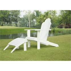 Linon Adirondack Chair and Ottoman in White