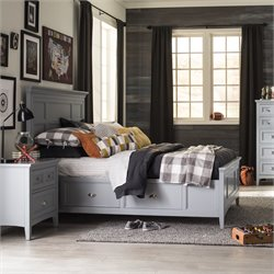 Magnussen Graylyn Twin Panel Bed with Storage Rail in Steel Drum