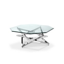 Magnussen Lenox Square Octagonal Coffee Table in Nickel