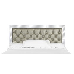 Magnussen Monroe Wood Queen Panel Headboard in Pearlized White