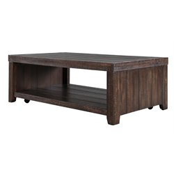 Magnussen Caitlyn Wood Coffee Table with Casters in Distressed Natural