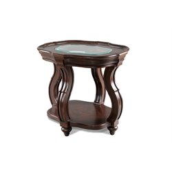 Magnussen Isabelle Wood Oval End Table in Distressed Deep Cherry