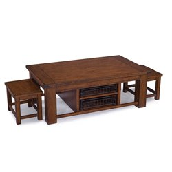 Magnussen Parker Lane Wood 3 Piece Coffee Table Set in Natural Pine