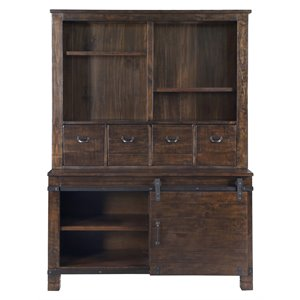 Magnussen Pine Hill Storage Cabinet with Hutch in Rustic Pine