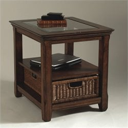 Magnussen Tanner Wood Rectangular End Table with Glass Inserts