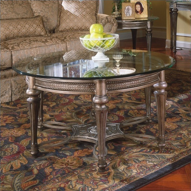 Magnussen Galloway 2 Piece Round Glass Top Cocktail And End Table Set