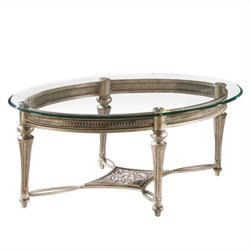 Magnussen Galloway 2 Piece Oval Glass Top Cocktail and End Table Set