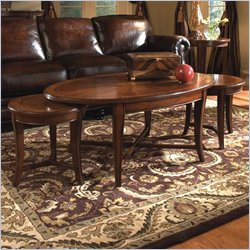 Magnussen Kingston 3 Piece Oval Bunching Cocktail and End Table Set in Nutmeg