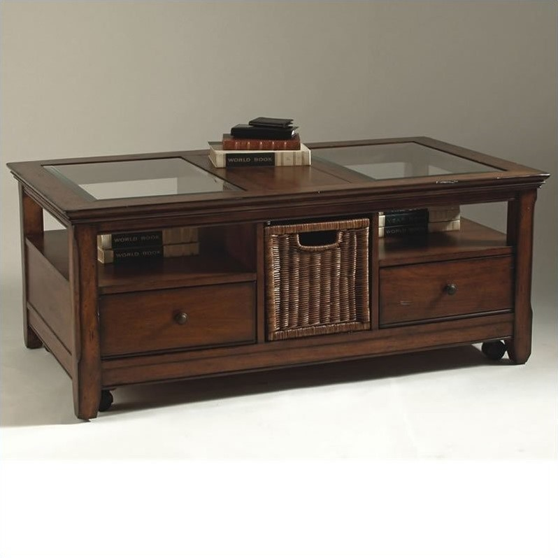 Magnussen Tanner 2 Piece Wood Storage Coffee And End Table Set In Worn Tobacco T1297 50 03 Pkg