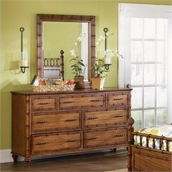 Magnussen Palm Bay 7 Drawer Double Dresser and Mirror Set in Toffee