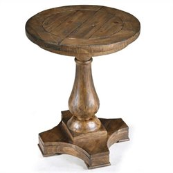 Magnussen Densbury Wood Round Accent Pedestal End Table