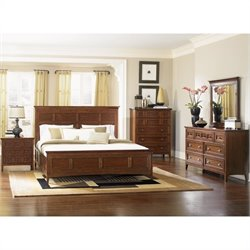 Magnussen Harrison Panel Bed 4 Piece Bedroom Set in Cherry Finish