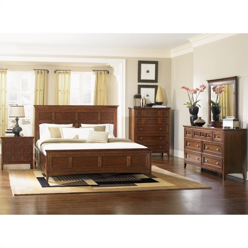 Harrison Panel Bed 6 Piece Bedroom Set in Cherry Finish