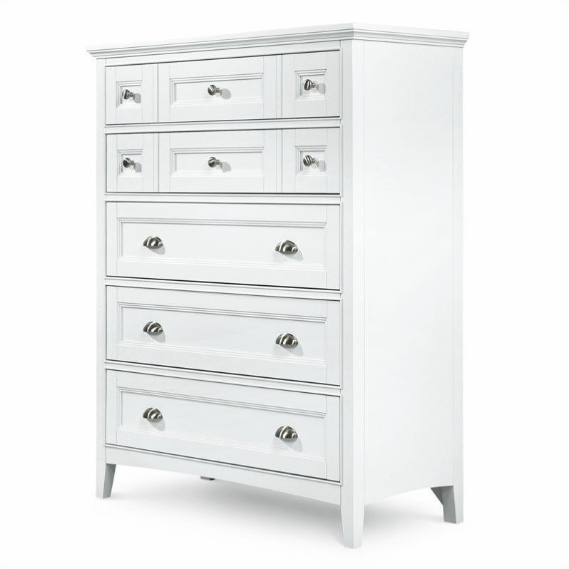 Kentwood 5 Drawer Chest in Painted White Finish