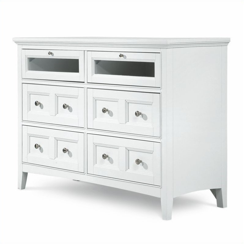 magnussen kentwood 6 drawer media chest in painted white finish b1475 36. Black Bedroom Furniture Sets. Home Design Ideas