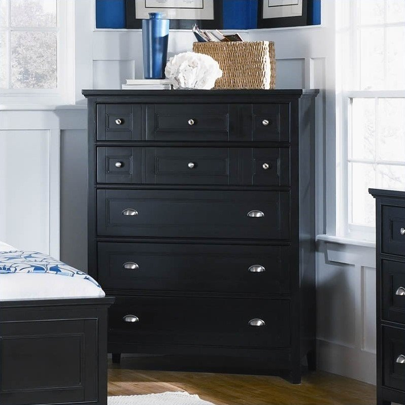 Southampton 5 Drawer Chest in Black Finish