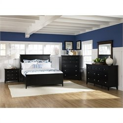 Magnussen Southampton Panel Bed 4 Piece Bedroom Set in Black Finish