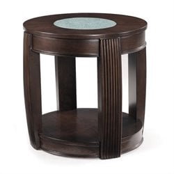 Magnussen Ino Wood and Glass Oval End Table
