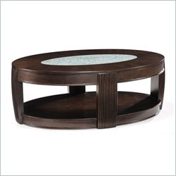 Magnussen Ino Wood and Glass Oval Cocktail Table in Burnt Umber Finish