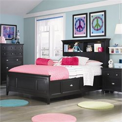 Magnussen Bennett Bookcase Bed with Regular and Storage Rails in Black - Twin
