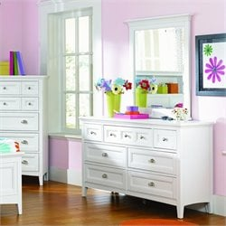 Magnussen Kenley Seven Drawer Dresser with Portrait Mirror in White